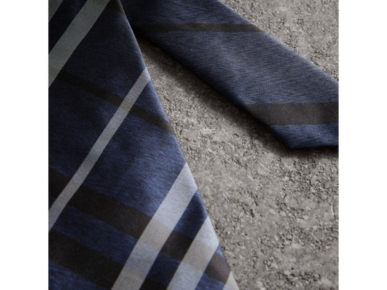 Modern Cut Check Silk Tie in Navy - Men | Burberry Hong Kong - cell image 1