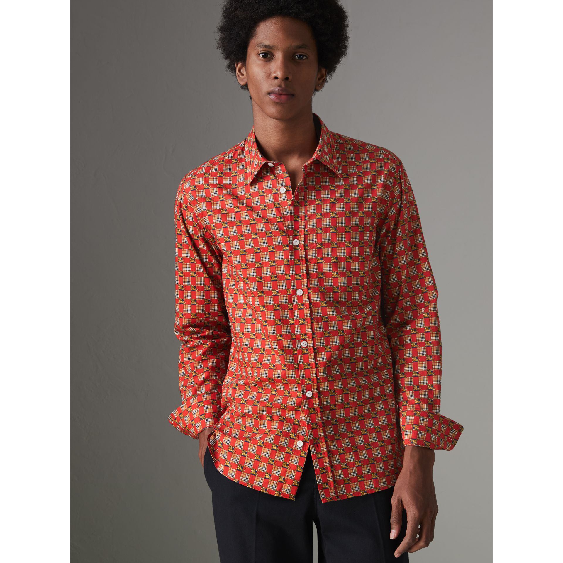 Tiled Archive Print Cotton Shirt in Bright Red - Men | Burberry United Kingdom - gallery image 0
