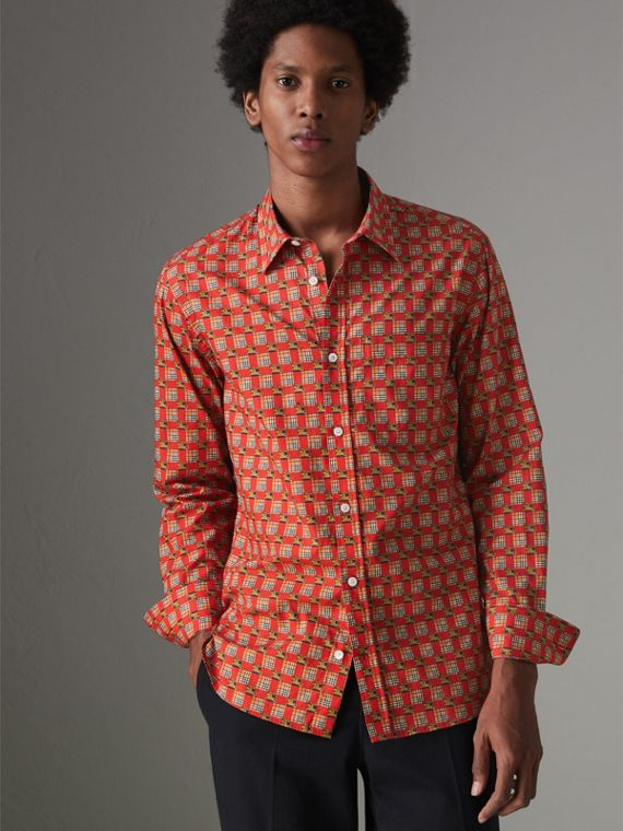 Tiled Archive Print Cotton Shirt in Bright Red