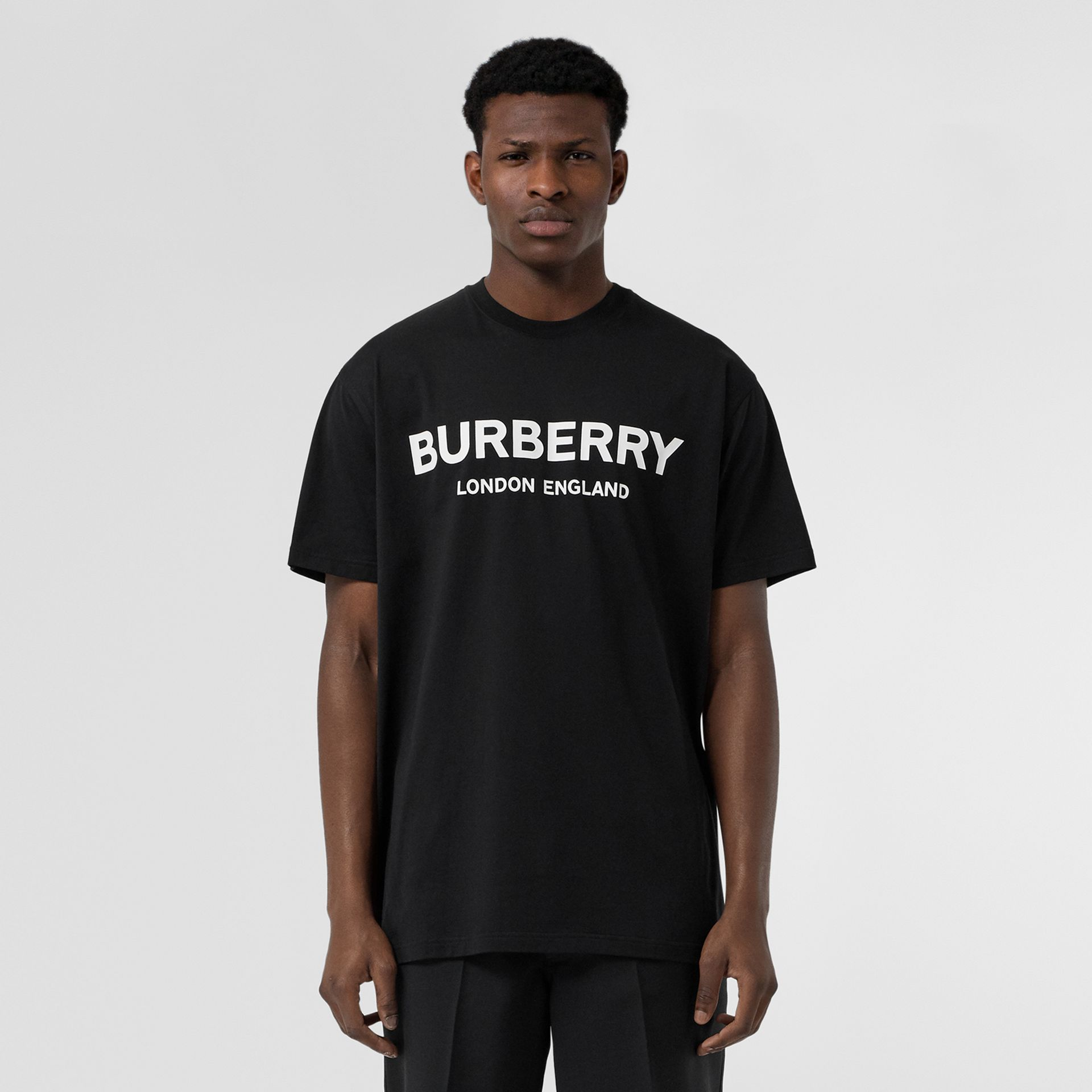 Logo Print Cotton T-shirt in Black - Men | Burberry United Kingdom - gallery image 4