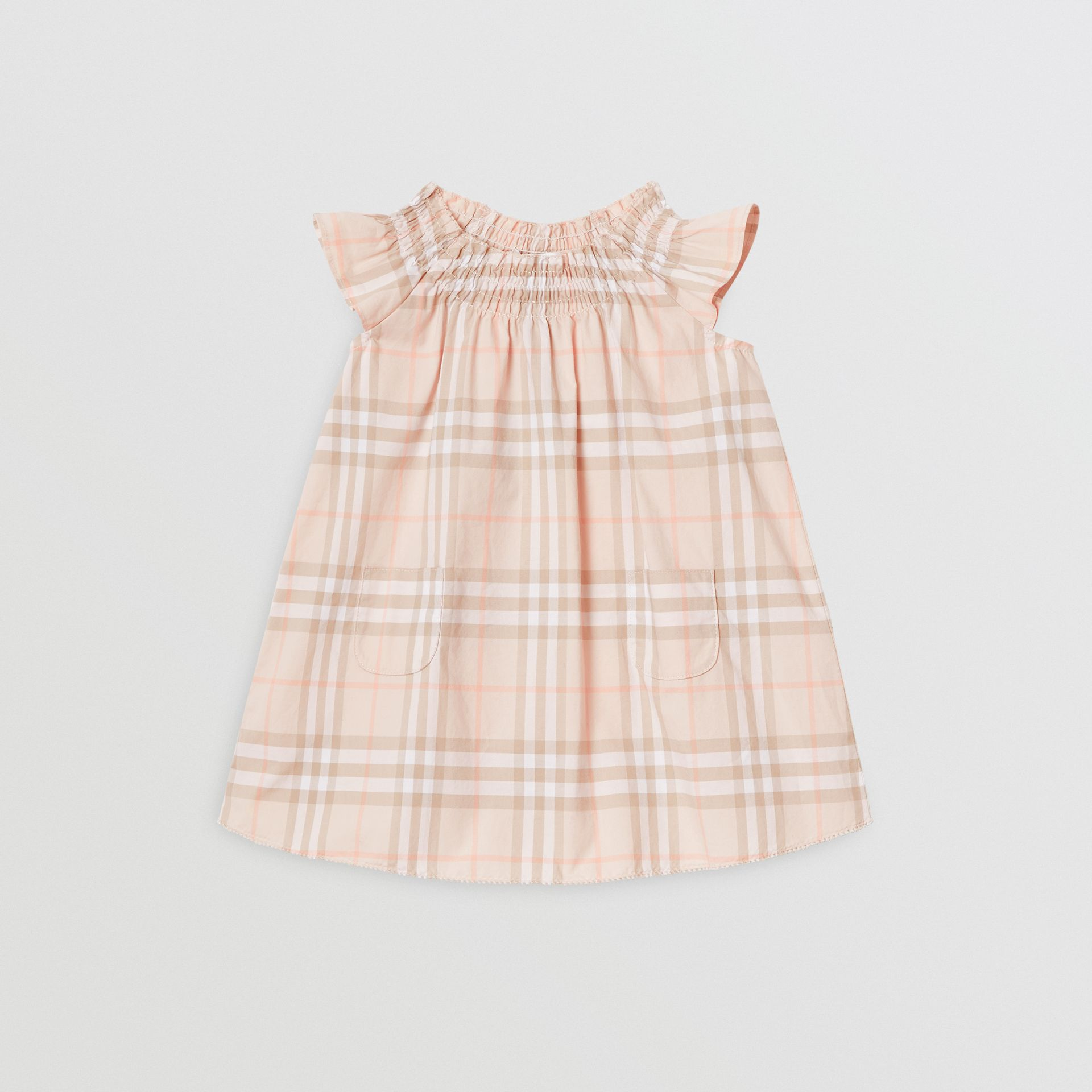 Smocked Vintage Check Cotton Dress in Pale Pink Apricot - Children | Burberry United Kingdom - gallery image 0