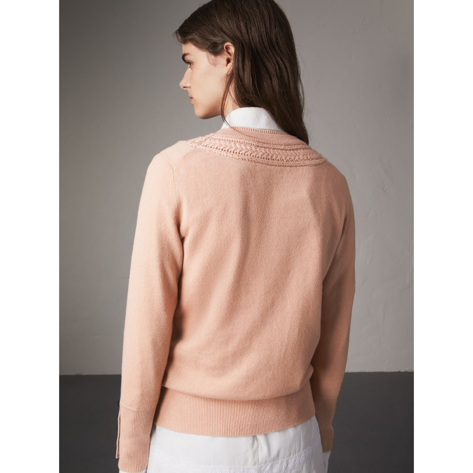 Cable Knit Yoke Cashmere Sweater in Apricot Pink - Women | Burberry - gallery image 3