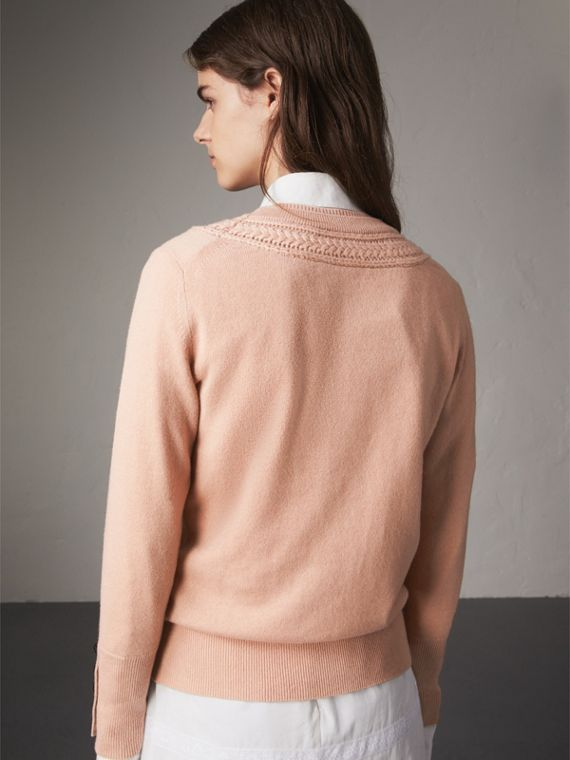Cable Knit Yoke Cashmere Sweater in Apricot Pink - Women | Burberry - cell image 2