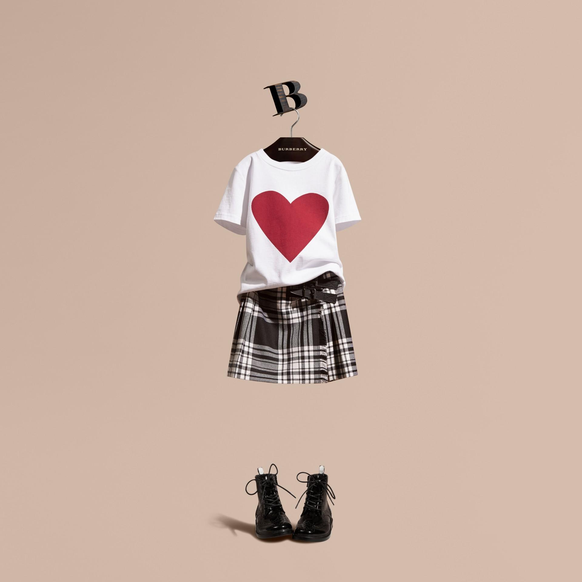 White Heart Print Cotton T-Shirt White - gallery image 1