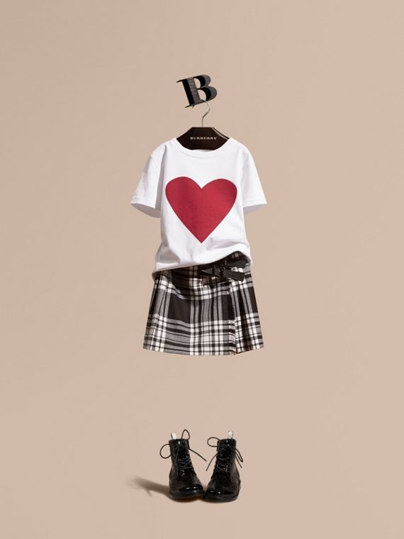 Heart Print Cotton T-Shirt White
