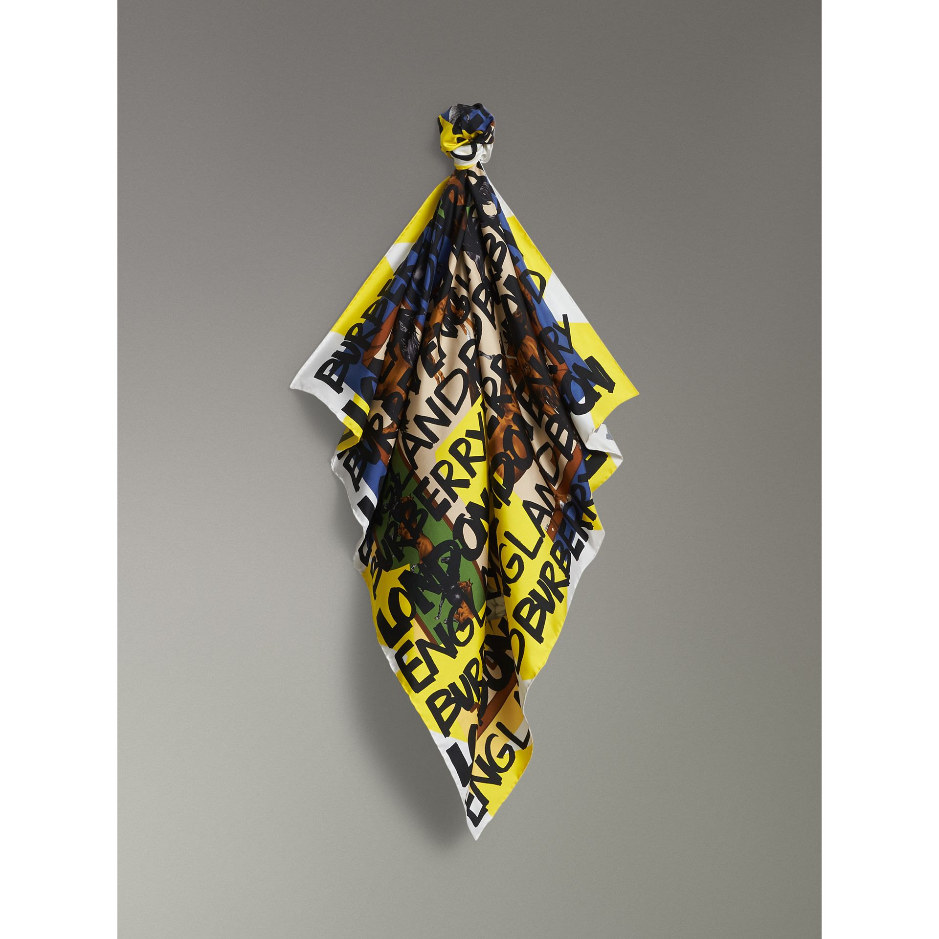 Graffiti Archive Scarf Print Silk Square Scarf in Bright Yellow | Burberry - gallery image 6