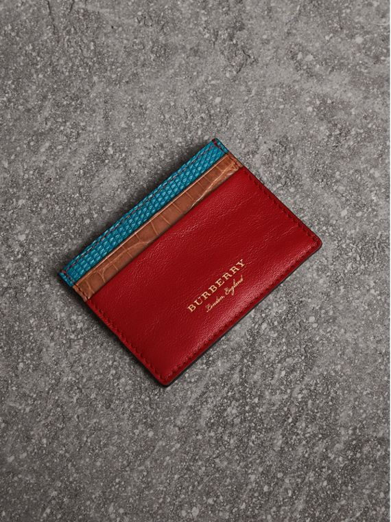 Leather, Lizard and Alligator Card Case in Deep Red
