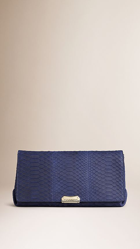 Bright regency blue Medium Nubuck Python Clutch Bag - Image 1