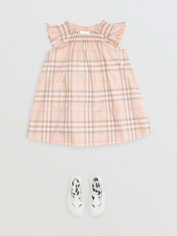 Smocked Vintage Check Cotton Dress in Pale Pink Apricot - Children | Burberry United Kingdom - cell image 2