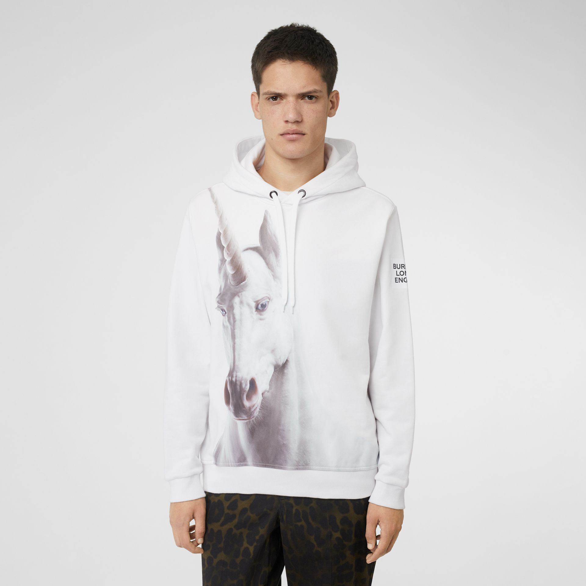 Unicorn Print Cotton Hoodie in White - Men | Burberry Australia - gallery image 4