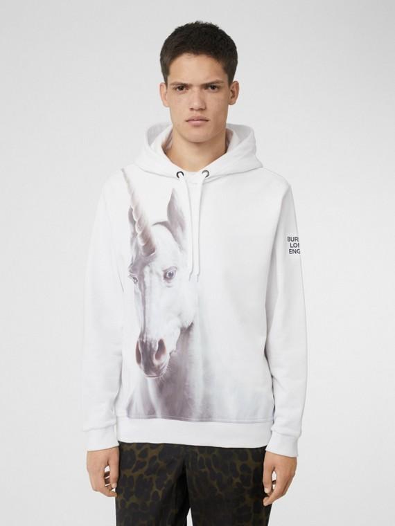 Suéter de algodão com capuz e estampa de unicórnio (Branco)
