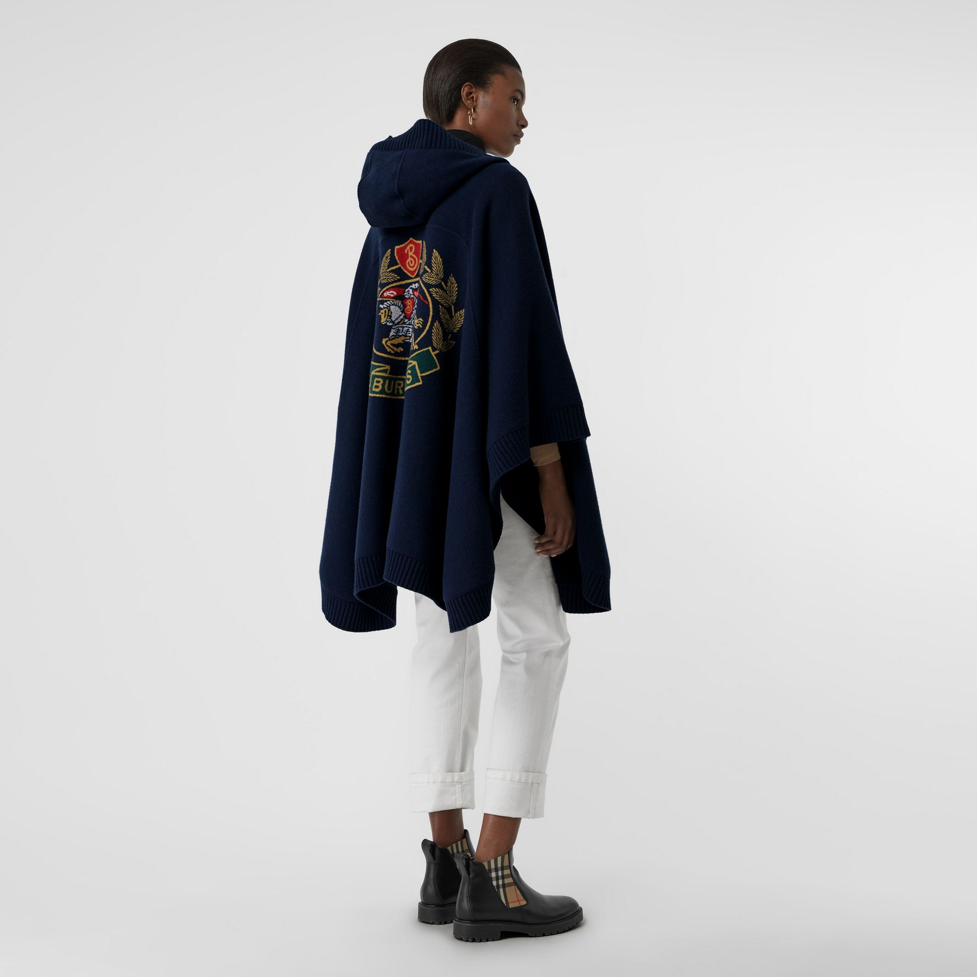 Crest Wool Blend Jacquard Hooded Cape in Navy - Women | Burberry United States - gallery image 0