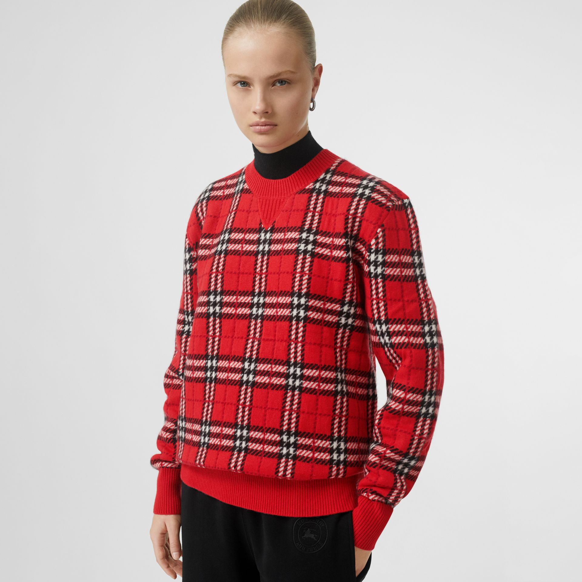 Check Cashmere Jacquard Sweater in Parade Red - Women | Burberry - gallery image 4