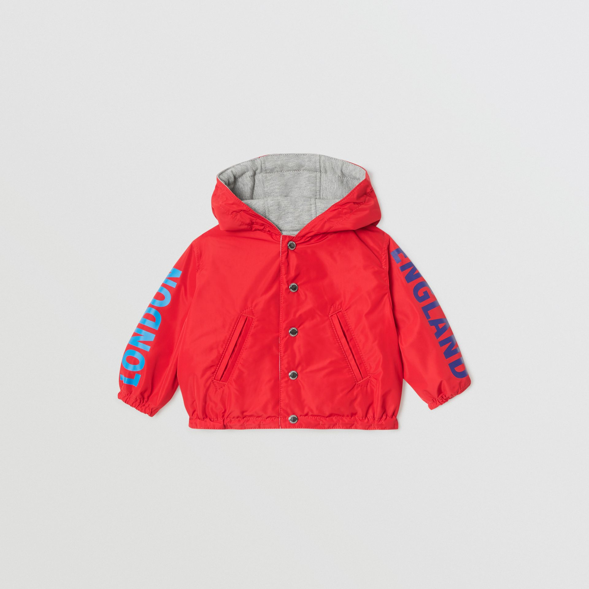 Logo Print Reversible Hooded Jacket in Bright Red - Children | Burberry - gallery image 0