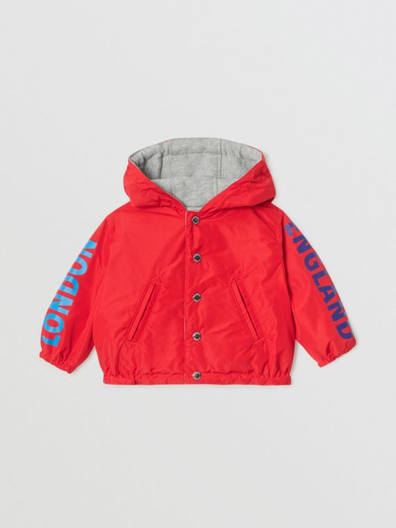Reversible Logo Print Hooded Jacket in Bright Red