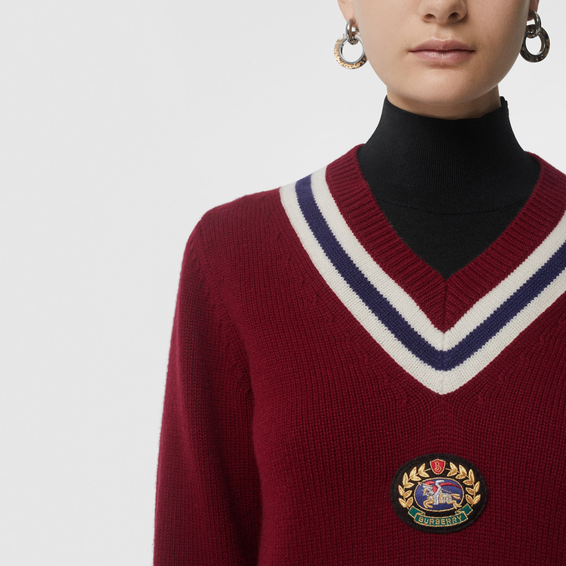 Embroidered Crest Wool Cashmere Sweater in Burgundy - Women | Burberry - gallery image 1