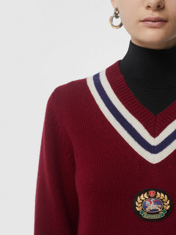 Embroidered Crest Wool Cashmere Sweater in Burgundy - Women | Burberry - cell image 1