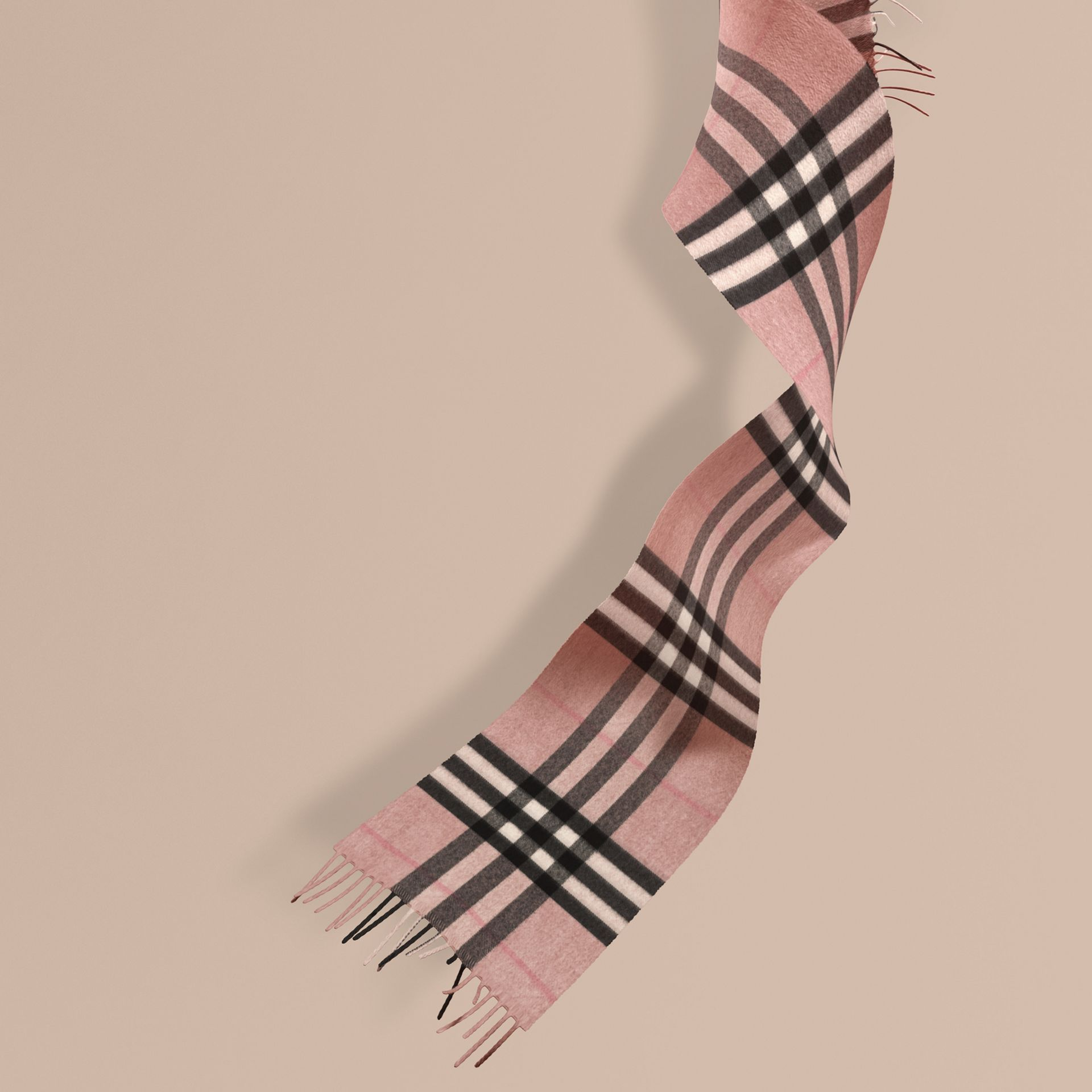 The Mini Classic Cashmere Scarf in Check Rose - gallery image 1