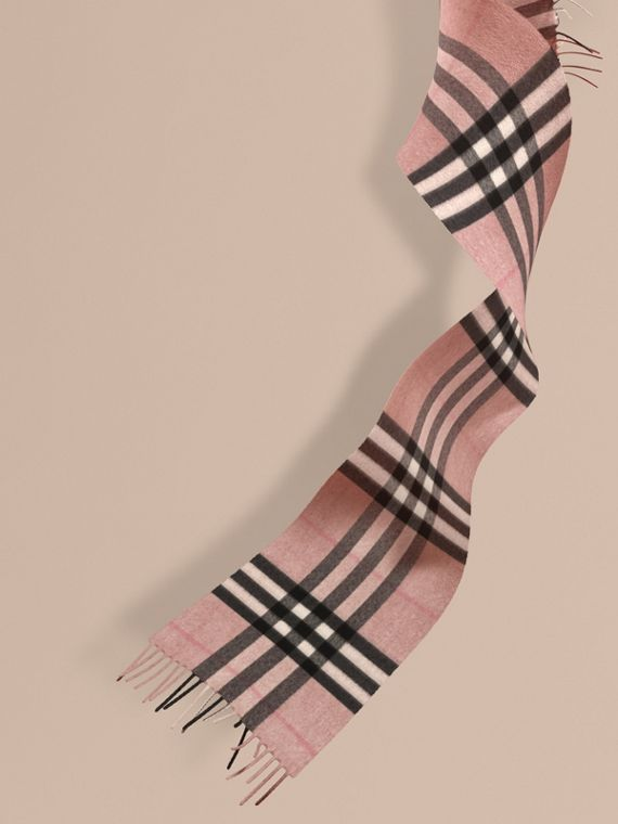 The Mini Classic Cashmere Scarf in Check in Ash Rose