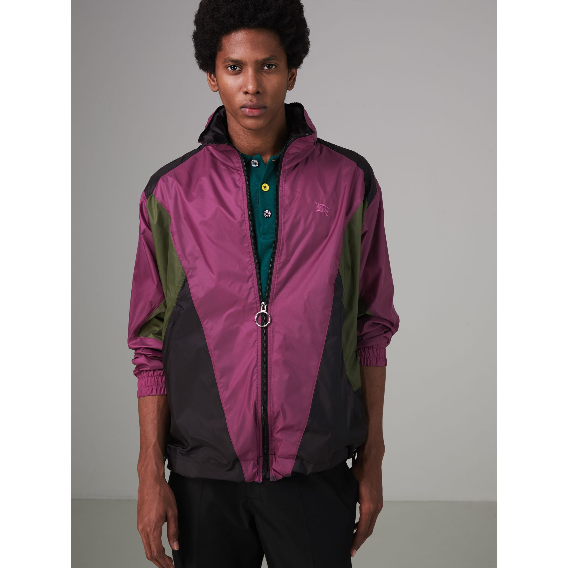 Packaway Hood Colour Block Lightweight Jacket in Regency Purple - Men | Burberry - gallery image 5