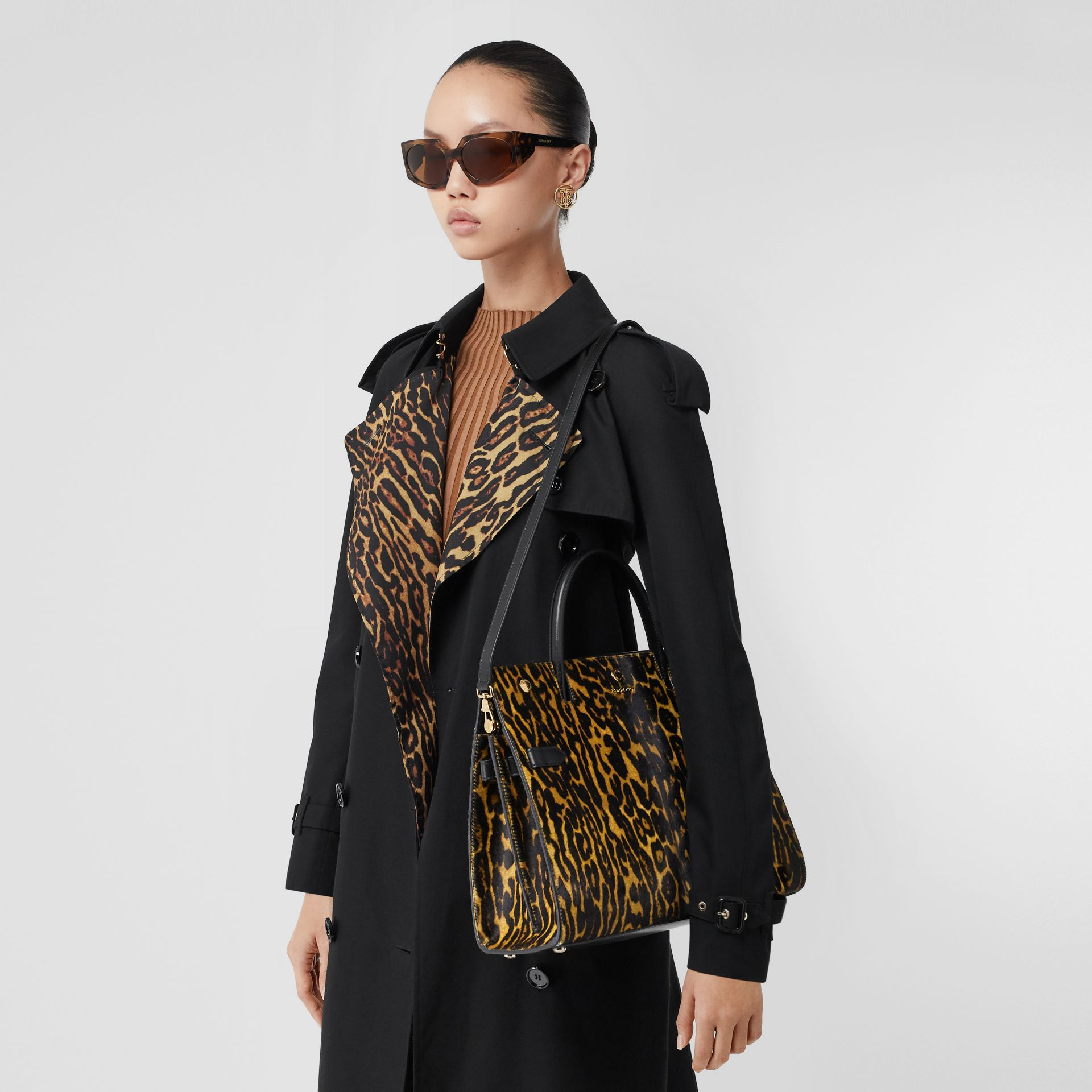 Medium Leopard Print Calf Hair and Leather Title Bag in Black - Women   Burberry - gallery image 2