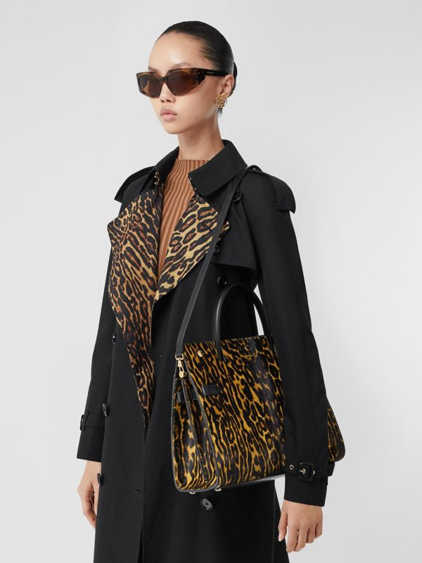 Medium Leopard Print Calf Hair and Leather Title Bag in Black - Women   Burberry - cell image 2