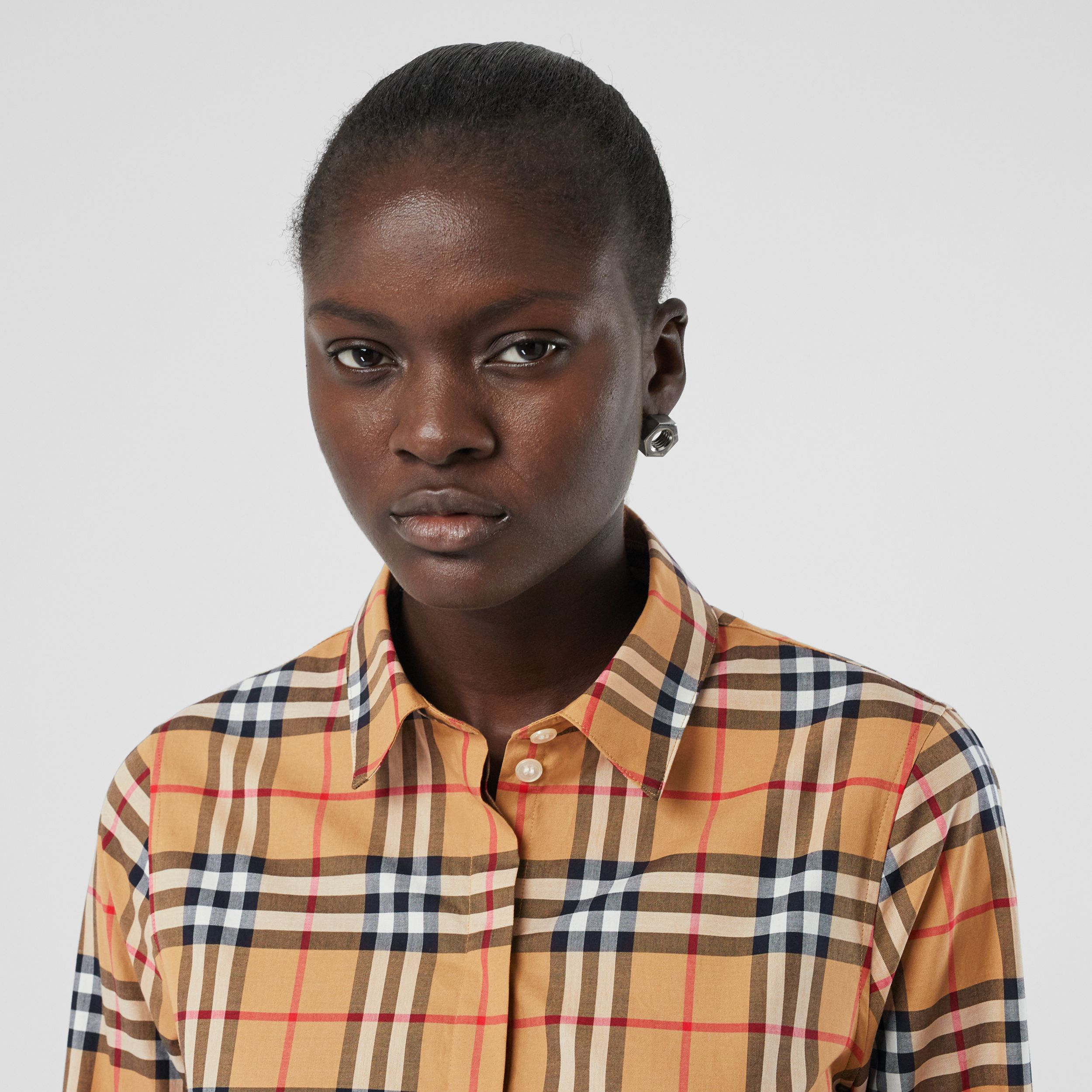 Vintage Check Cotton Oversized Shirt in Antique Yellow - Women | Burberry - 2
