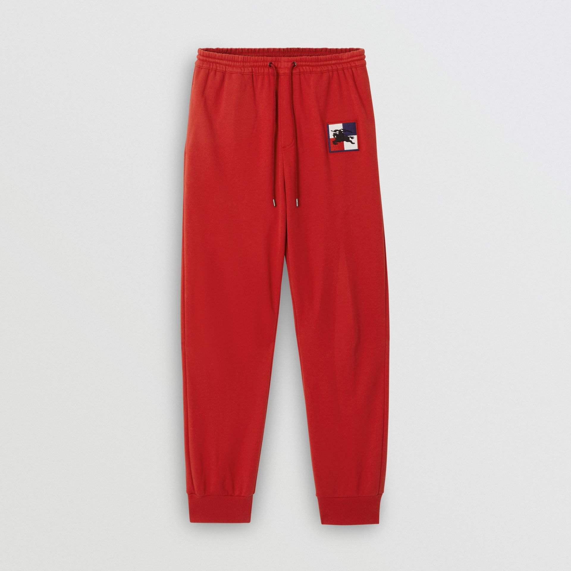 Chequer EKD Cotton Trackpants in Military Red - Men | Burberry - gallery image 3