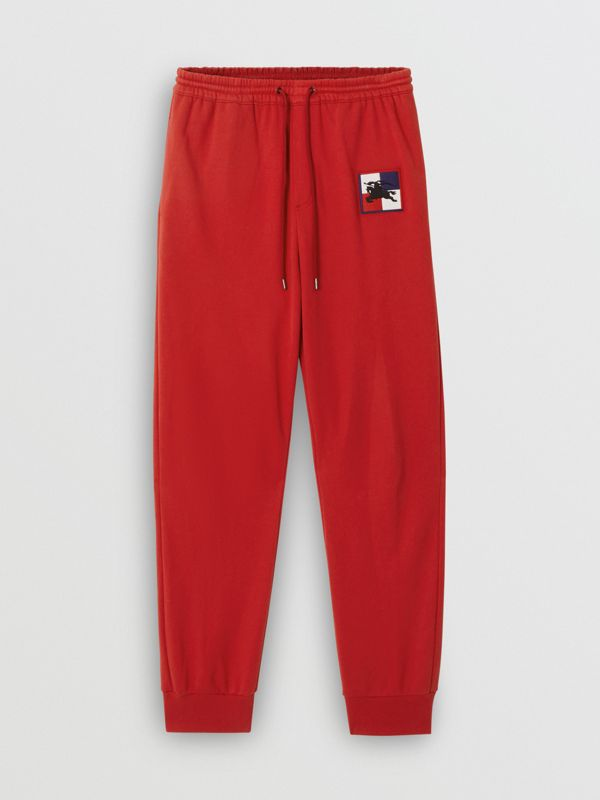 Chequer EKD Cotton Trackpants in Military Red - Men | Burberry - cell image 3