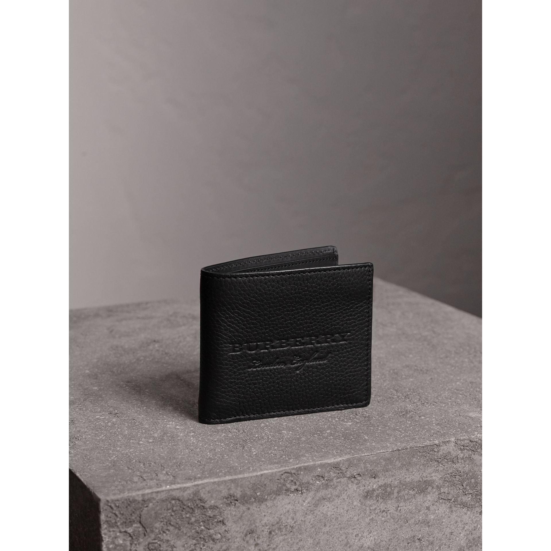 Embossed Leather Bifold Wallet in Black - Men | Burberry Australia - gallery image 1