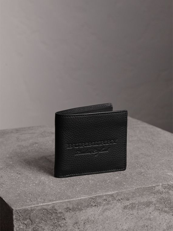 Embossed Leather Bifold Wallet in Black - Men | Burberry