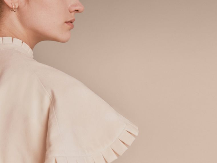 Ruffled Suede Cropped Cape in White - Women | Burberry - cell image 4