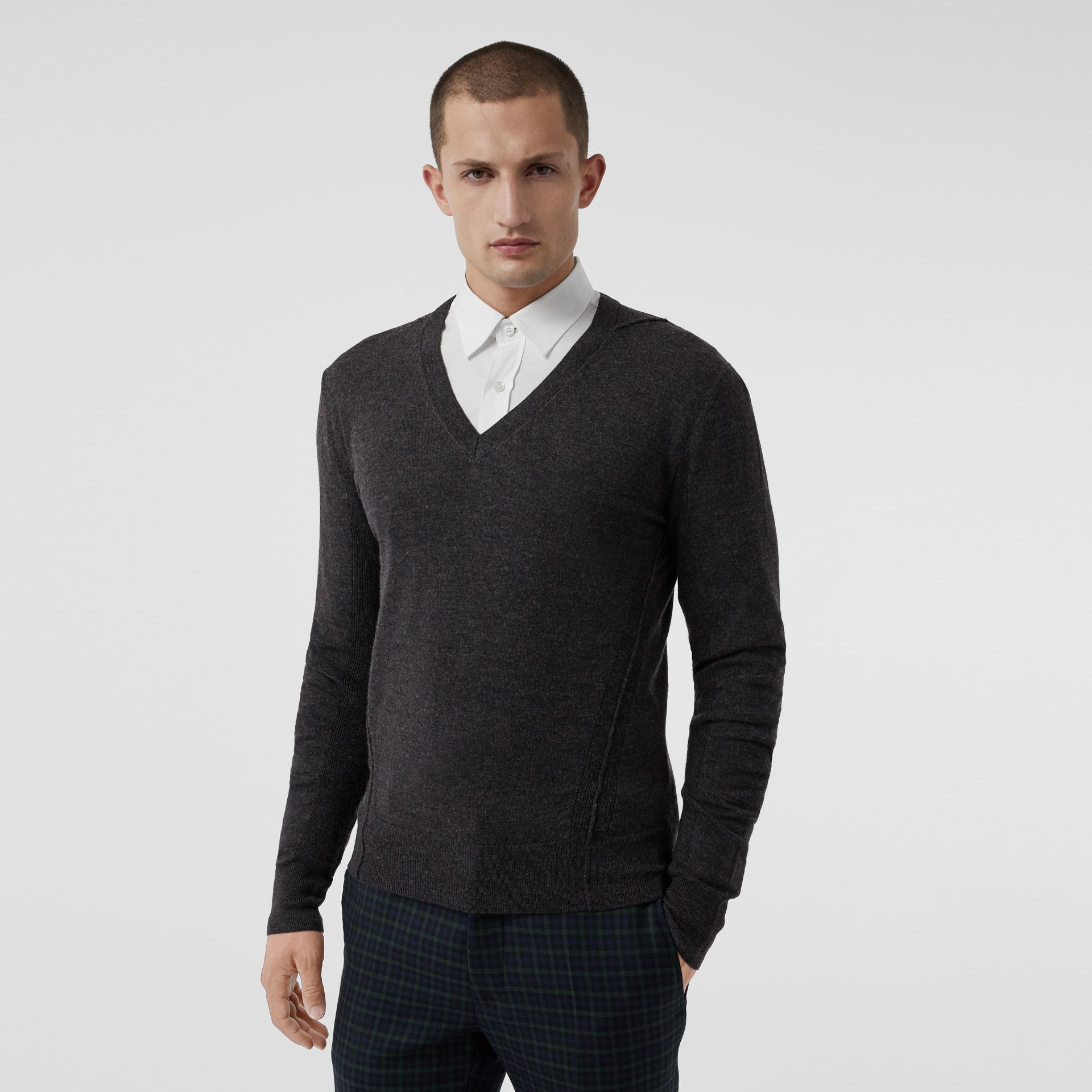 Check Detail Merino Wool V-neck Sweater in Charcoal - Men | Burberry - gallery image 4