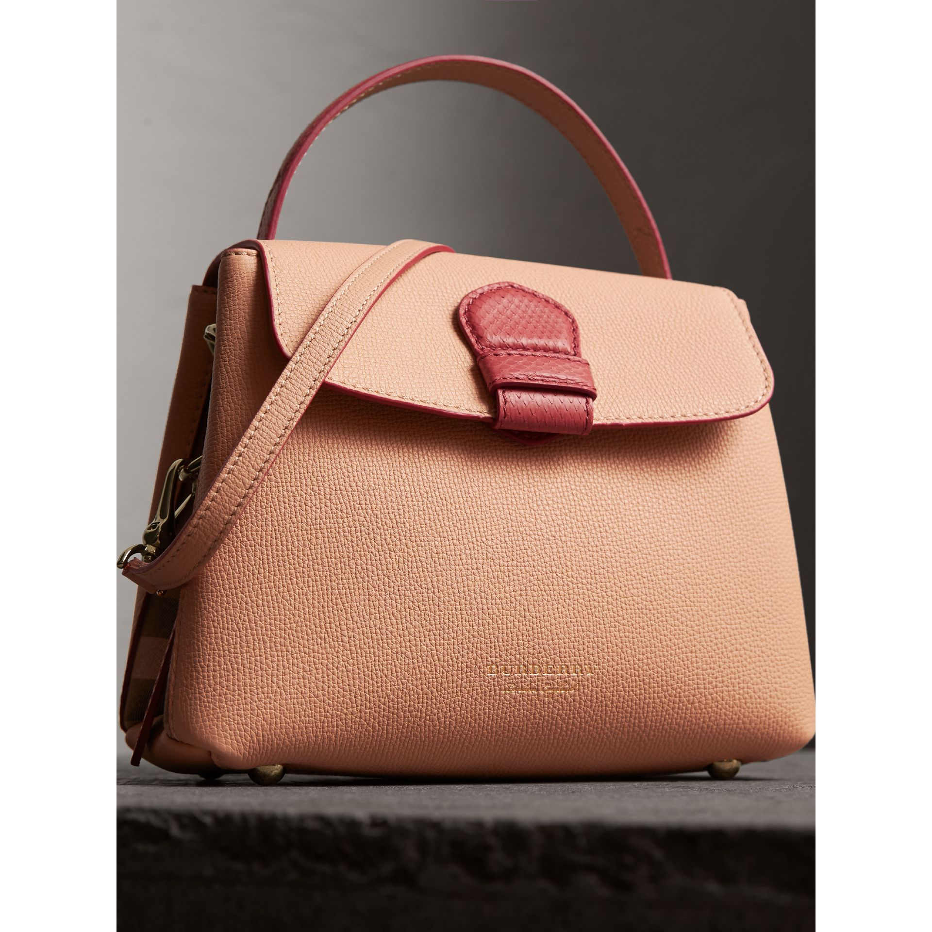 Small Two-tone Leather and House Check Tote in Pale Apricot - Women | Burberry Australia - gallery image 6