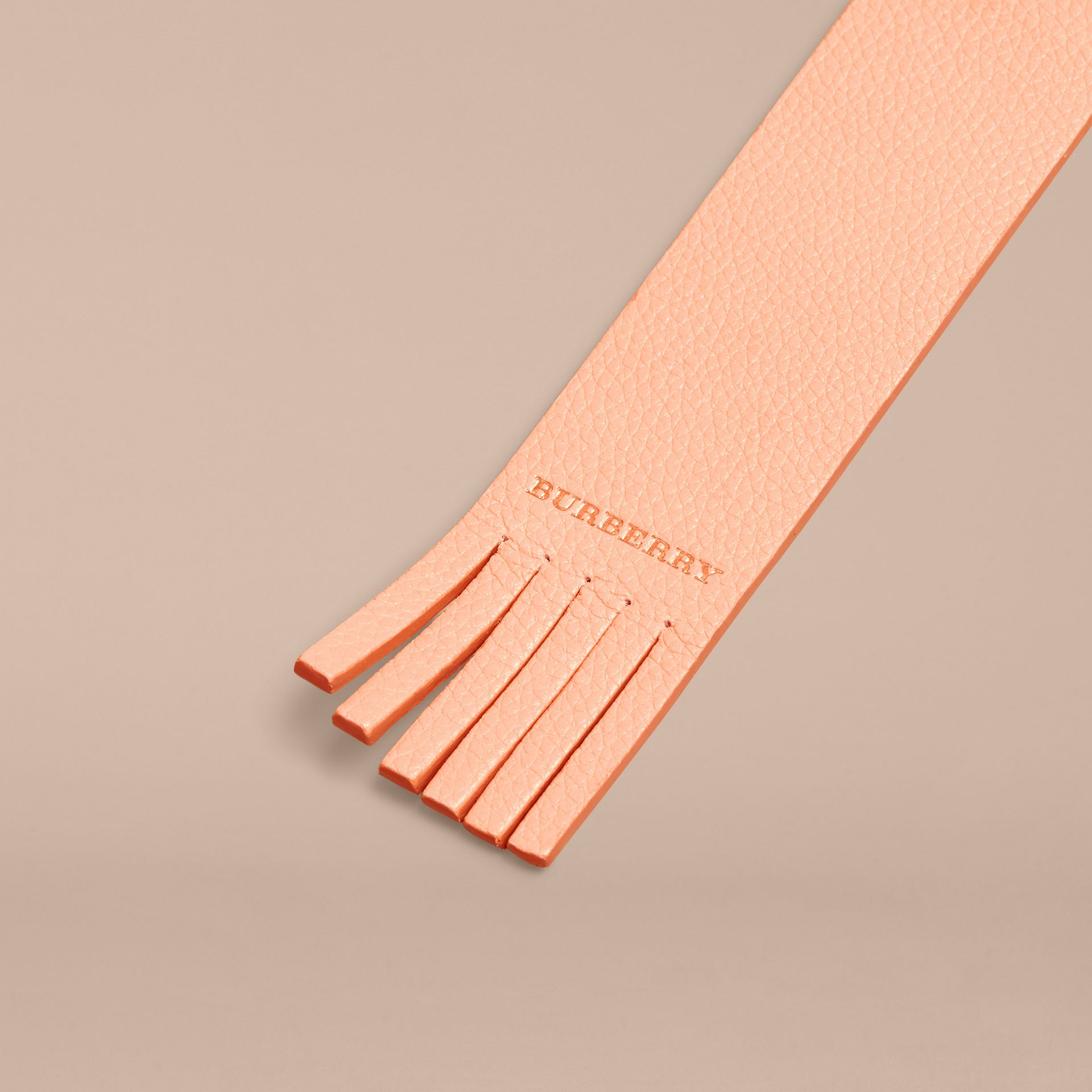 Pink apricot Fringe Detail Grainy Leather Bookmark - gallery image 2