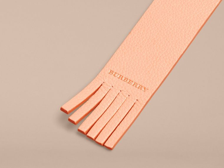 Pink apricot Fringe Detail Grainy Leather Bookmark - cell image 1
