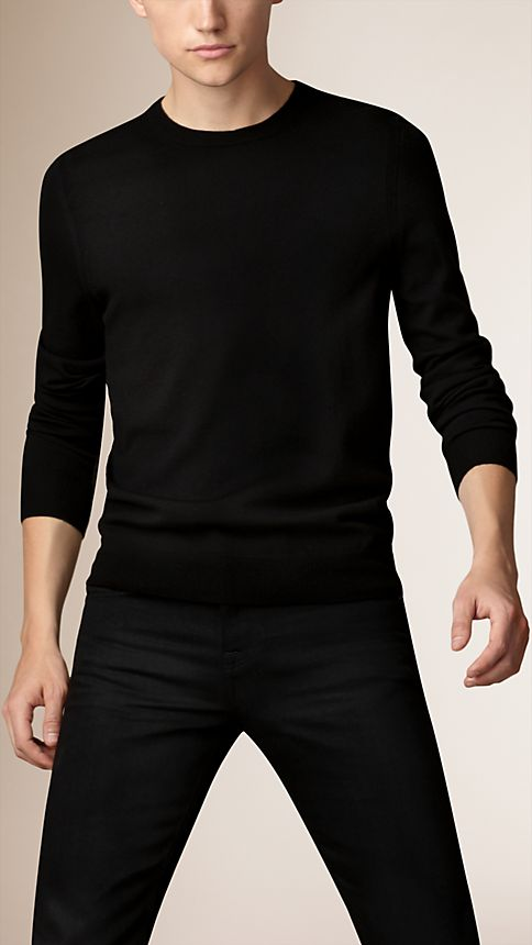 Black Check Detail Merino Wool Sweater - Image 1