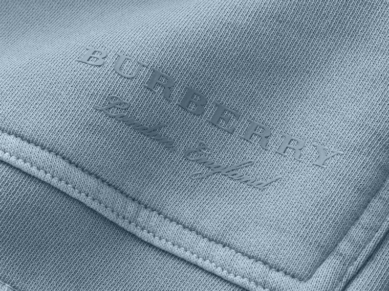 Unisex Pigment-dyed Cotton Oversize Sweatshirt in Dusty Blue - Men | Burberry Hong Kong - cell image 1