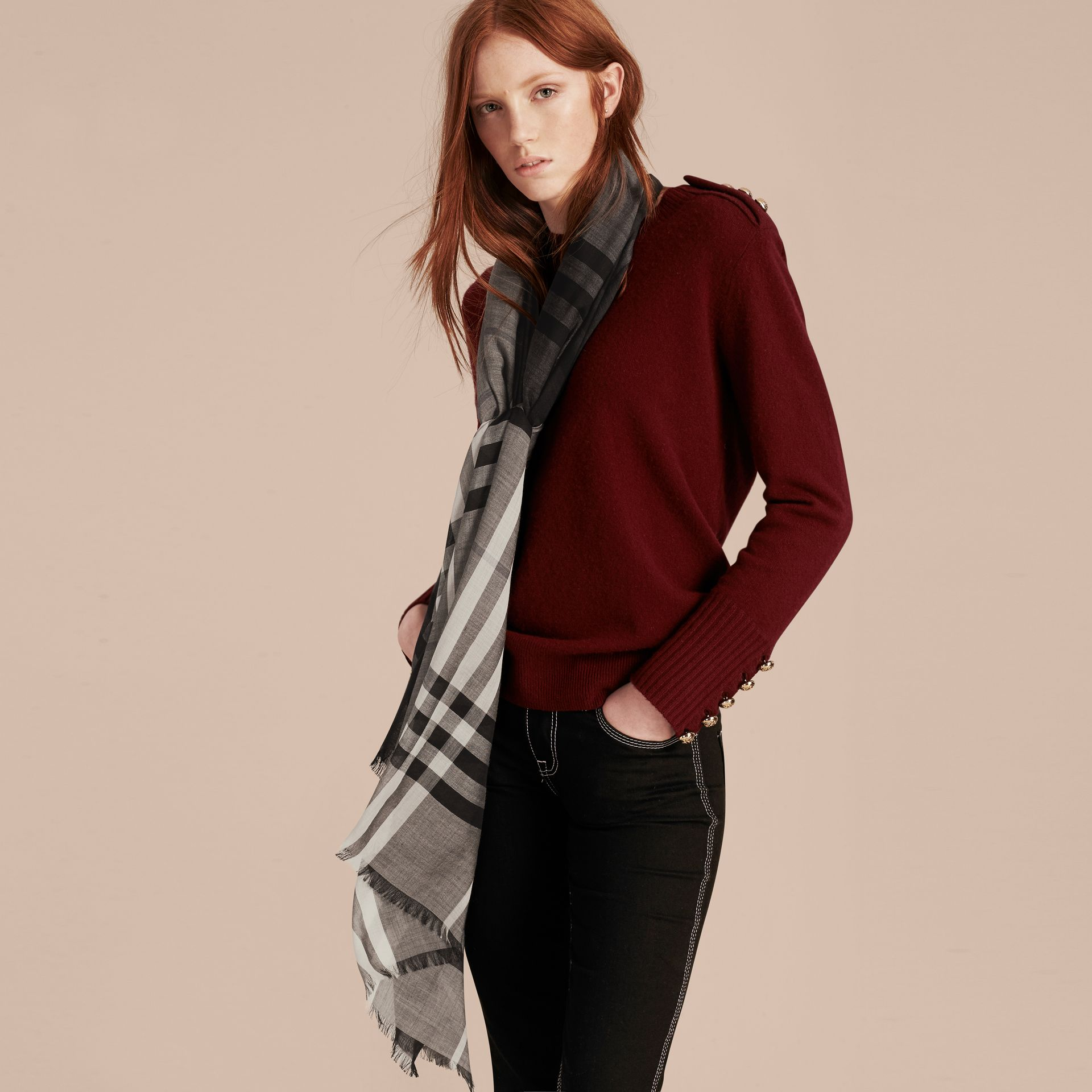 Charcoal check Ombré Check Lightweight Wool Silk Scarf Charcoal - gallery image 3