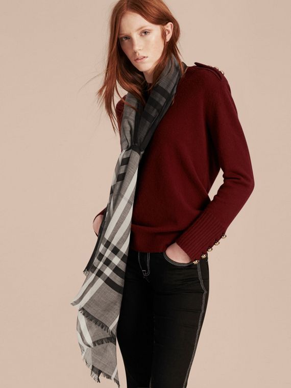 Charcoal check Ombré Check Lightweight Wool Silk Scarf Charcoal - cell image 2