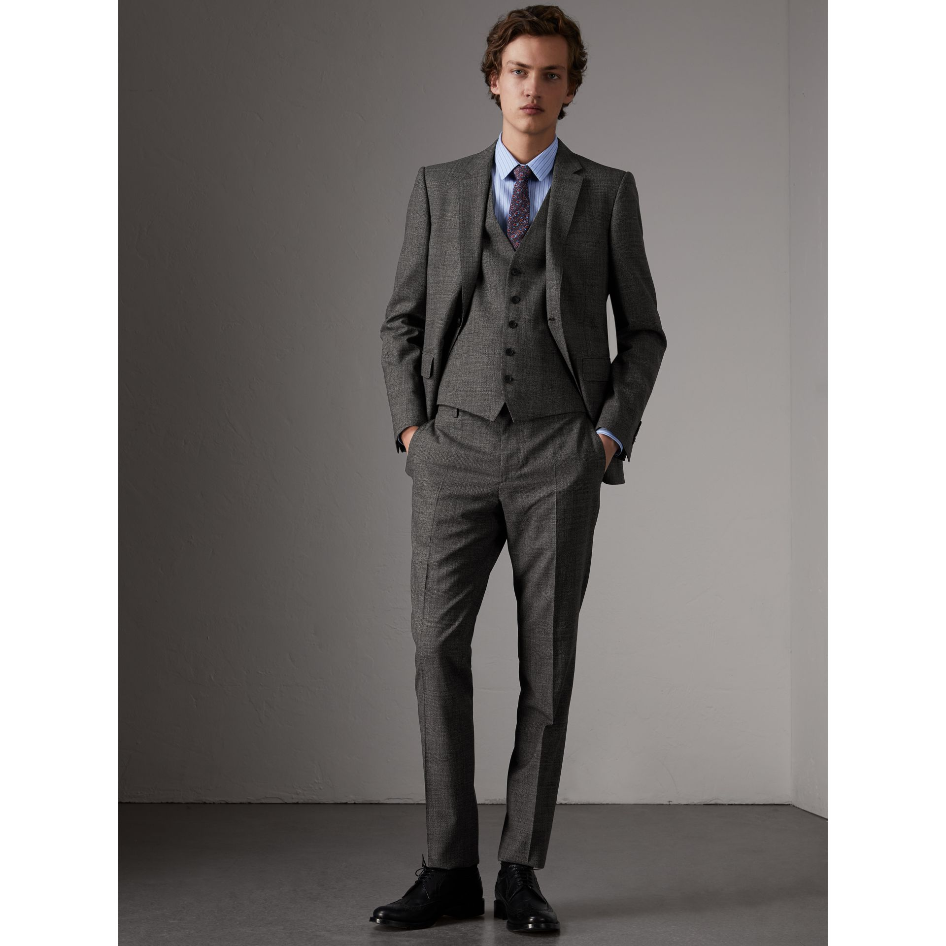 Slim Fit Wool Three-piece Suit in Dark Grey Melange - Men | Burberry - gallery image 1