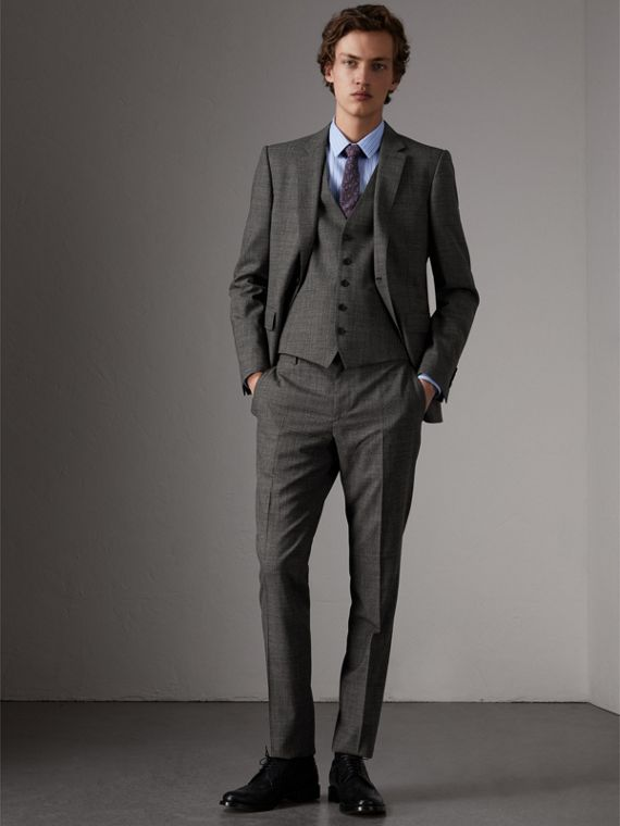Slim Fit Wool Three-piece Suit in Dark Grey Melange