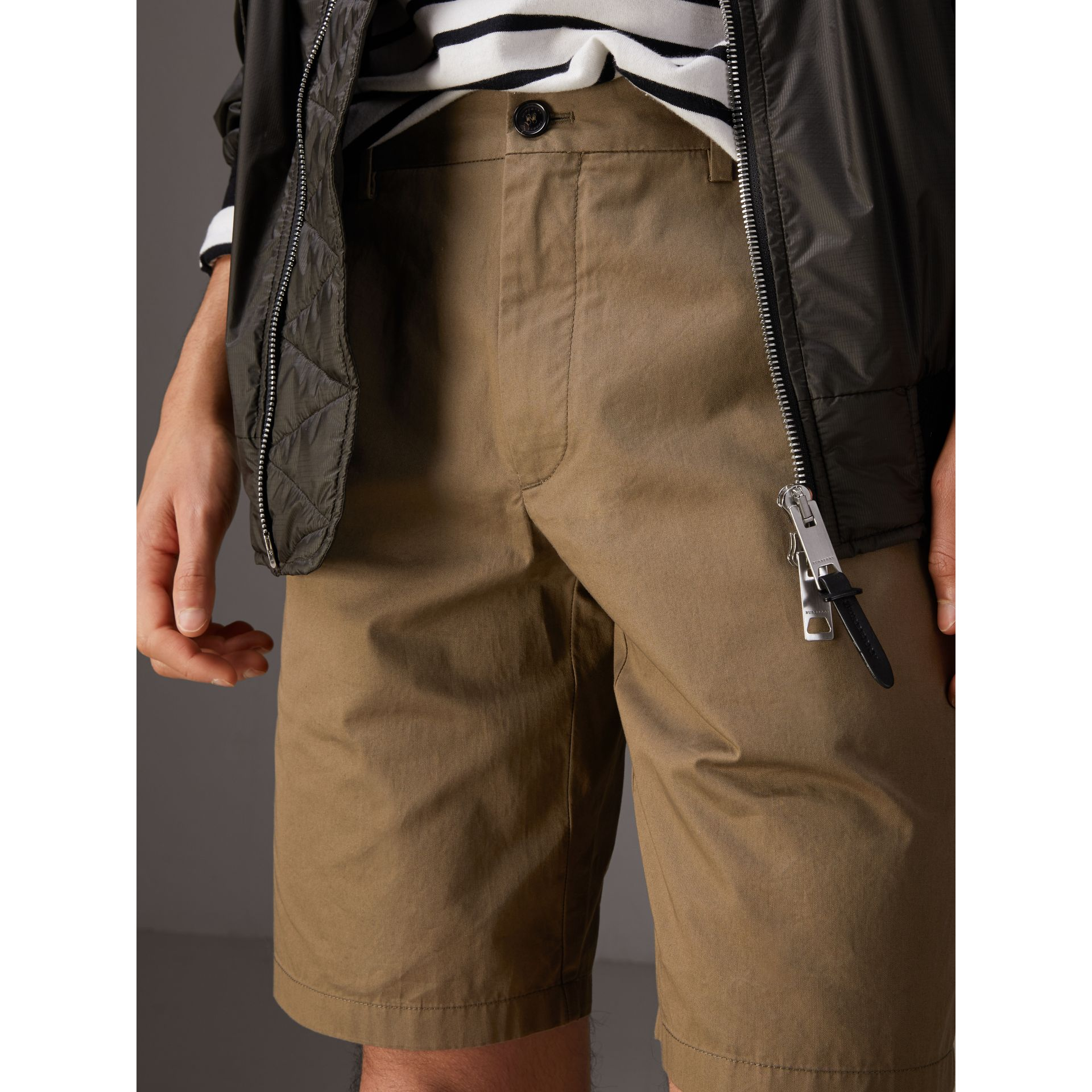 Cotton Twill Chino Shorts in Olive Green - Men | Burberry Canada - gallery image 1