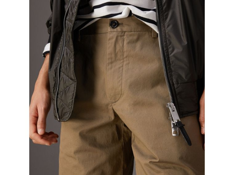 Cotton Twill Chino Shorts in Olive Green - Men | Burberry - cell image 1