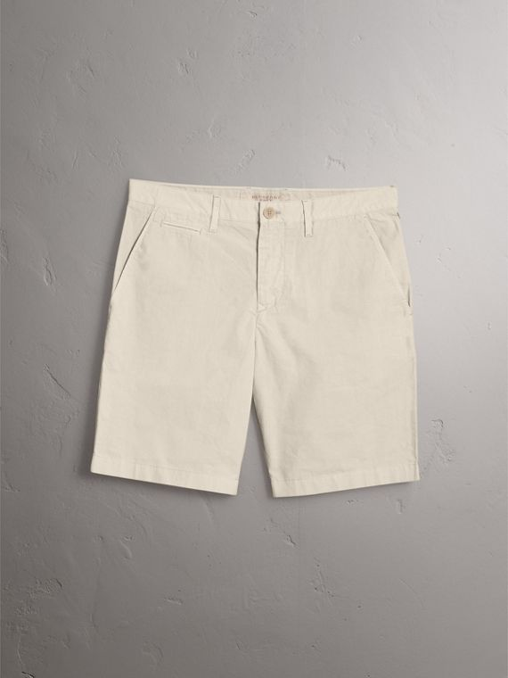 Cotton Poplin Chino Shorts in Stone - Men | Burberry - cell image 3