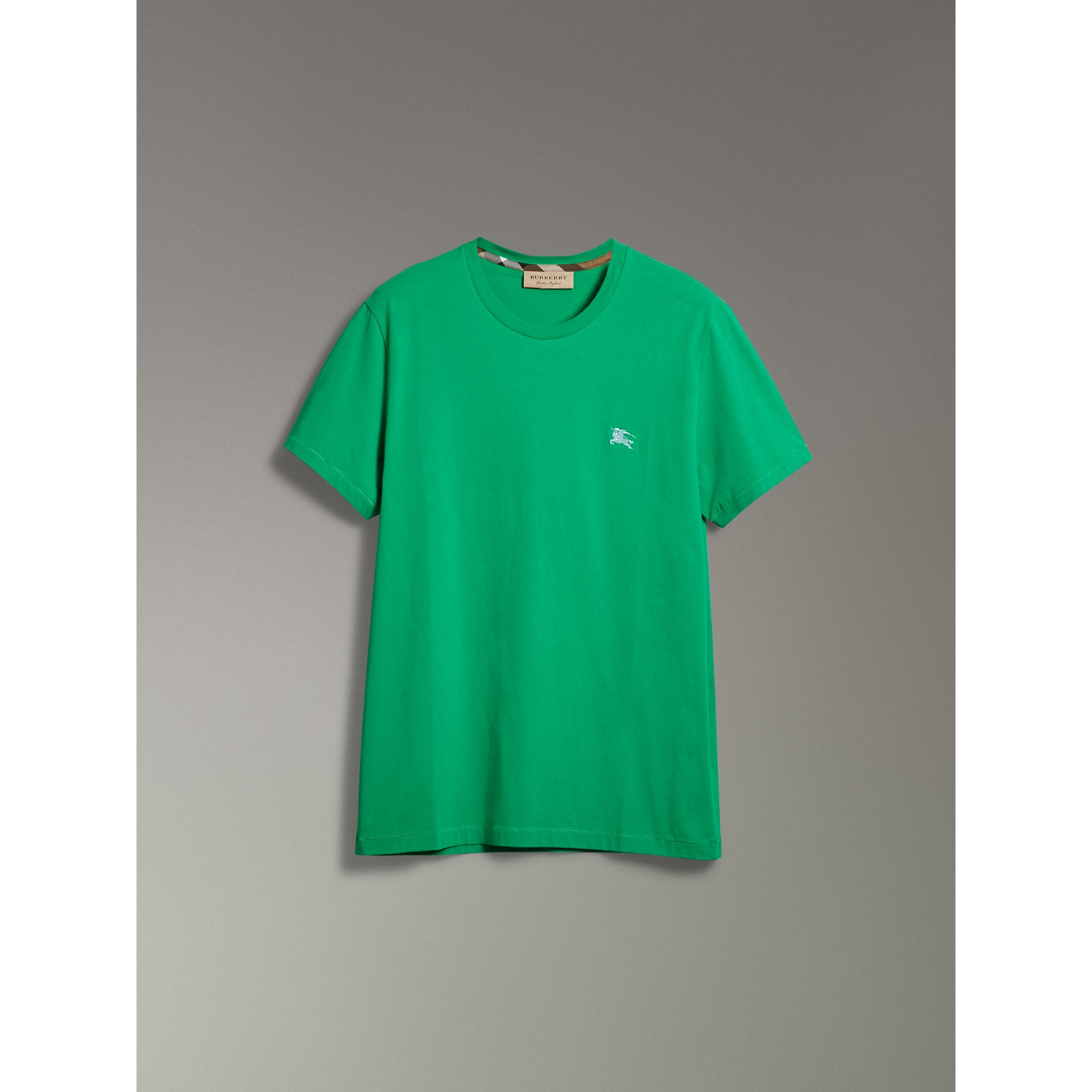 Cotton Jersey T-shirt in Bright Green - Men | Burberry - gallery image 3