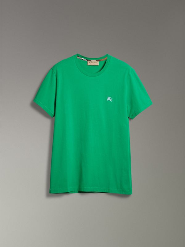 Cotton Jersey T-shirt in Bright Green - Men | Burberry Singapore - cell image 3
