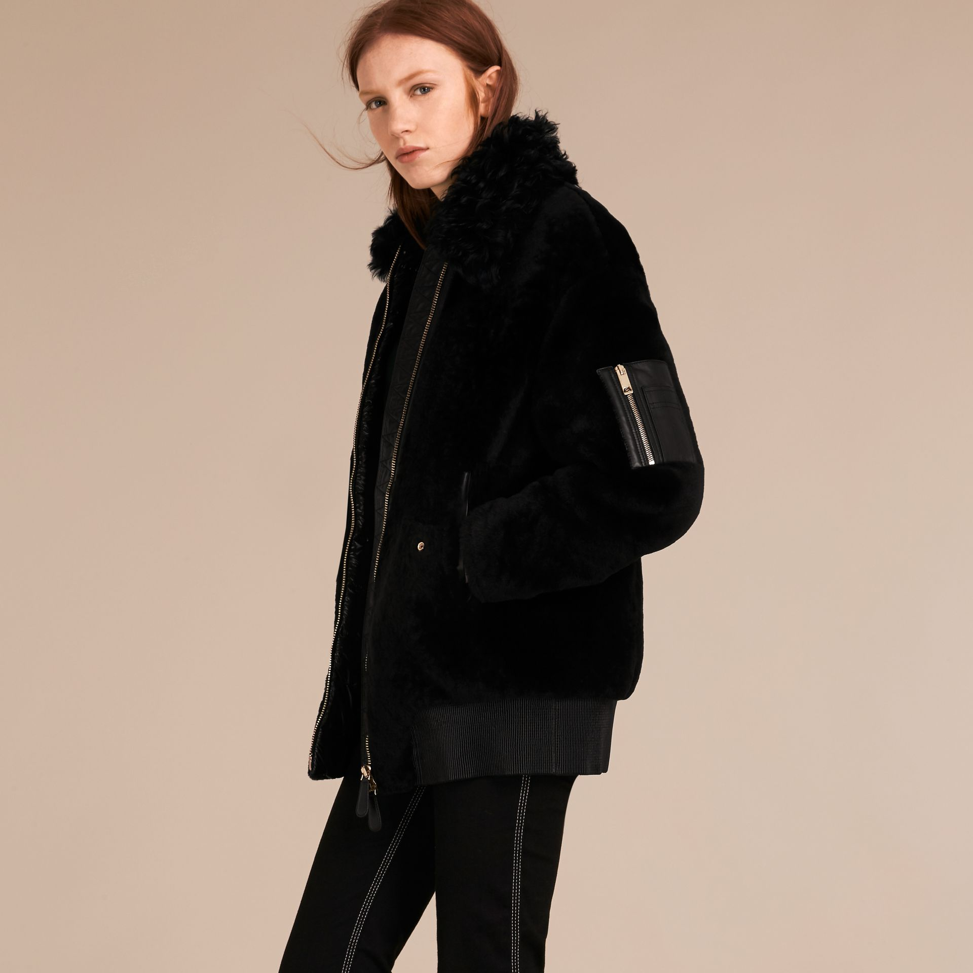 Black Shearling Bomber Jacket - gallery image 6