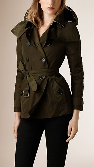 Hooded Short Showerproof Trench Coat