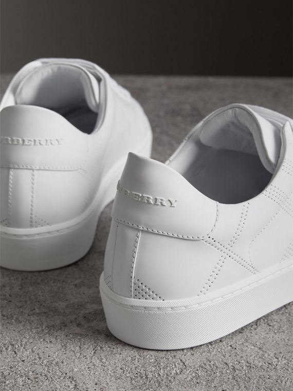 Perforated Check Leather Sneakers in Optic White - Women | Burberry United States - cell image 3